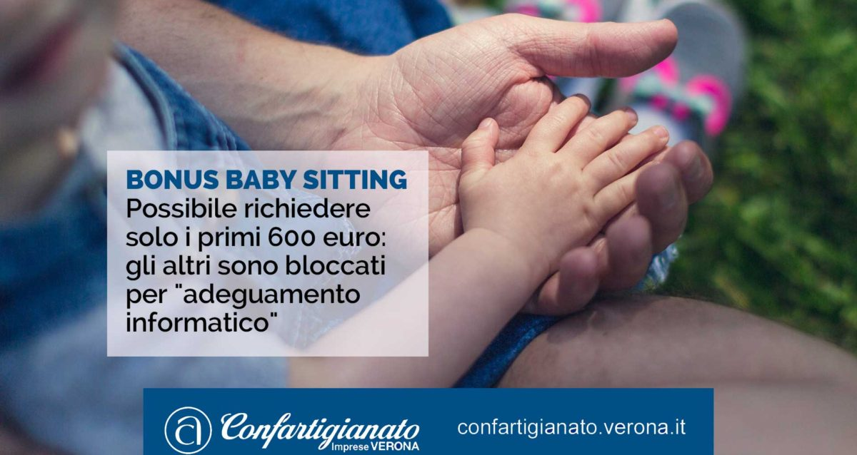 """BONUS BABY SITTING – Possibile richiedere solo i primi 600 euro: gli altri sono bloccati per """"adeguamento informatico"""""""