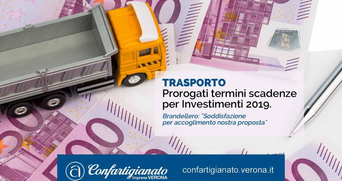 """TRASPORTI – Prorogati termini scadenze per Investimenti 2019. Brandellero: """"Soddisfazione per accoglimento nostra proposta"""""""