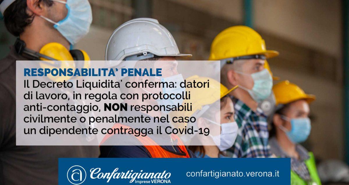 Il Decreto Liquidita' conferma: datori di lavoro in regola con protocolli anti-contaggio non responsabili civilmente o penalmente