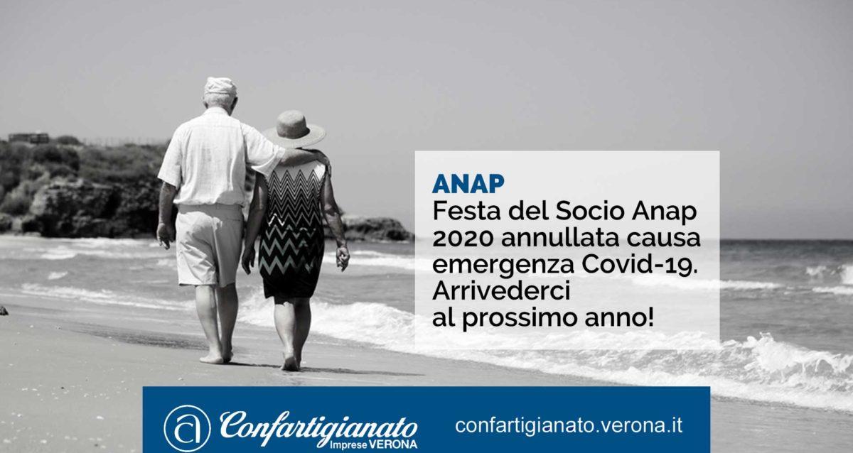 Festa del Socio Anap 2020 annullata causa emergenza Covid-19. Arrivederci al prossimo anno!