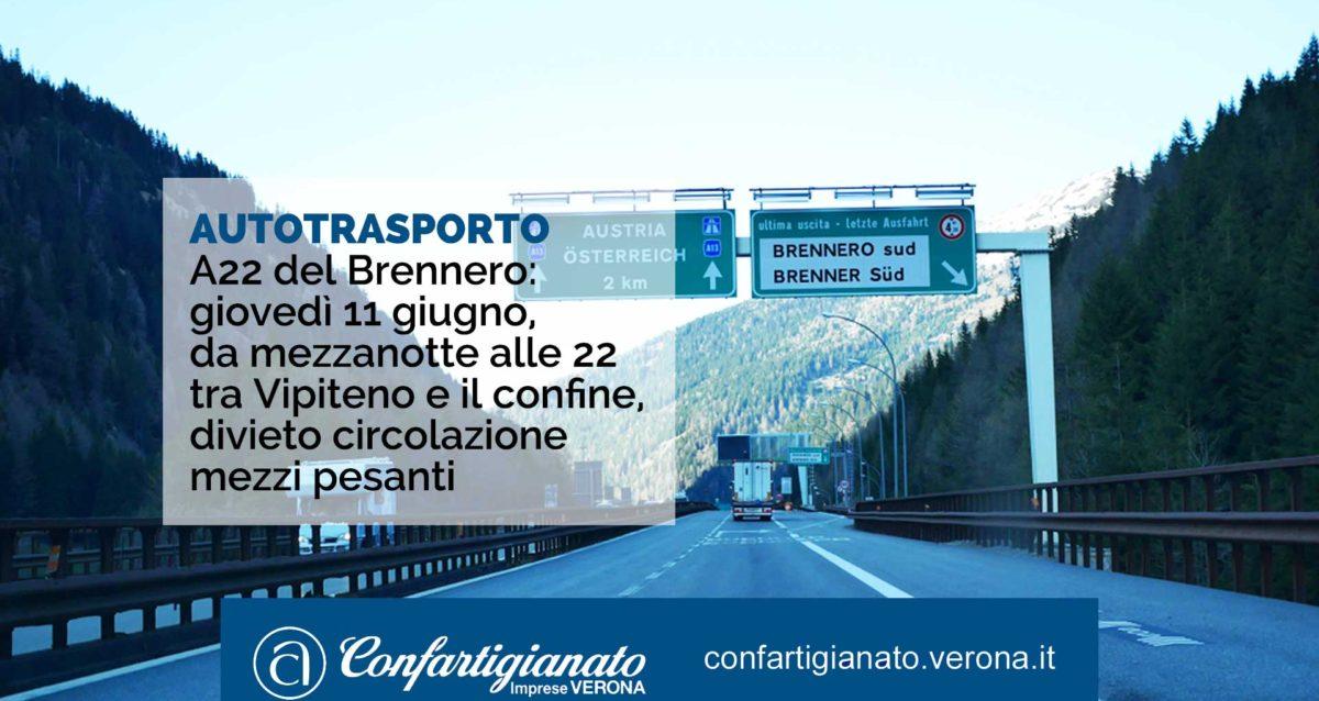 AUTOTRASPORTO A22 del Brennero: giovedì 11 giugno, da mezzanotte alle 22 tra Vipiteno e il confine, divieto circolazione mezzi pesanti