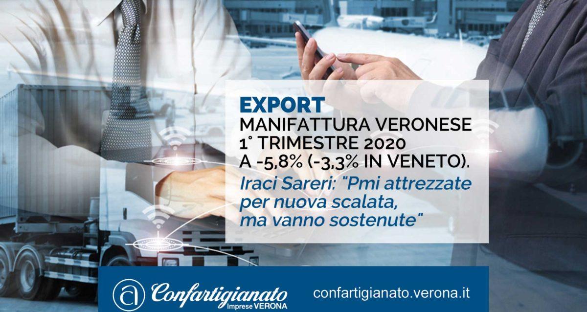 """EXPORT – Manifattura veronese 1° trimestre 2020 a -5,8% (-3,3% in Veneto). Iraci Sareri: """"Pmi attrezzate per nuova scalata, ma vanno sostenute"""""""