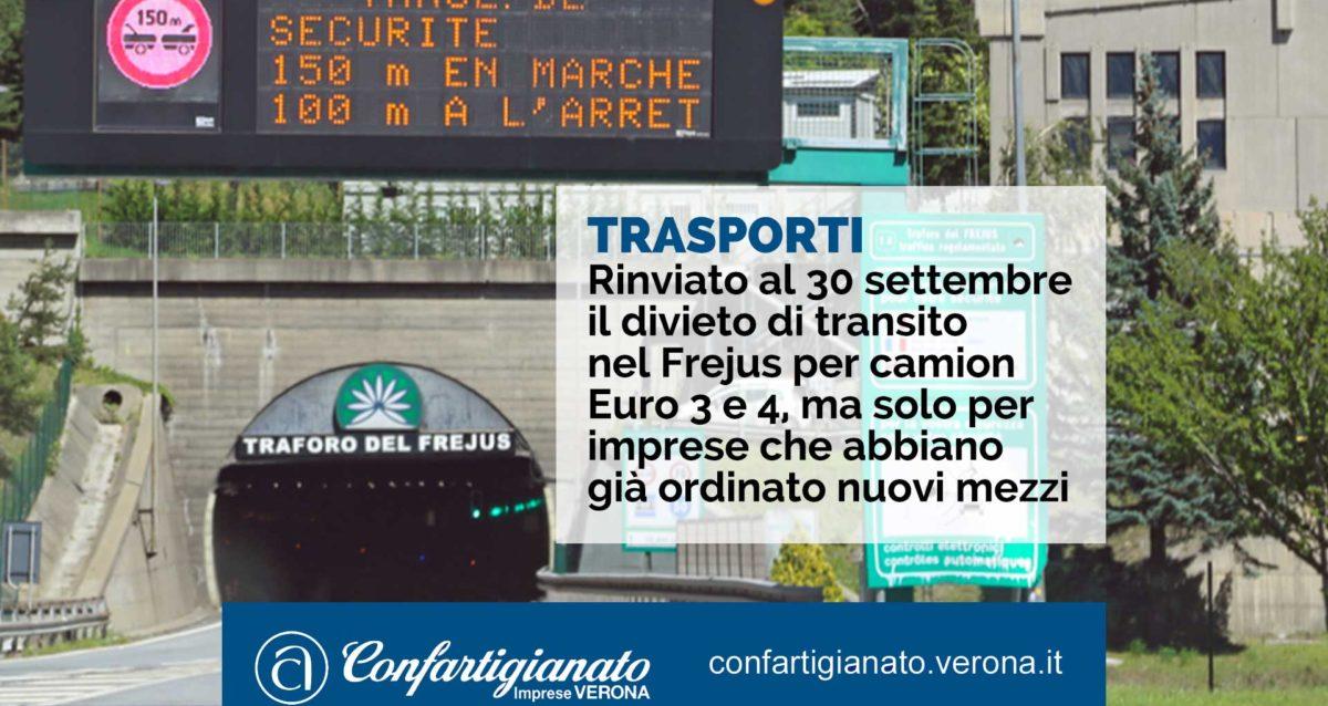 Rinviato al 30 settembre il divieto di transito nel Frejus per camion Euro 3 e 4, ma solo per imprese che abbiano già ordinato nuovi mezzi