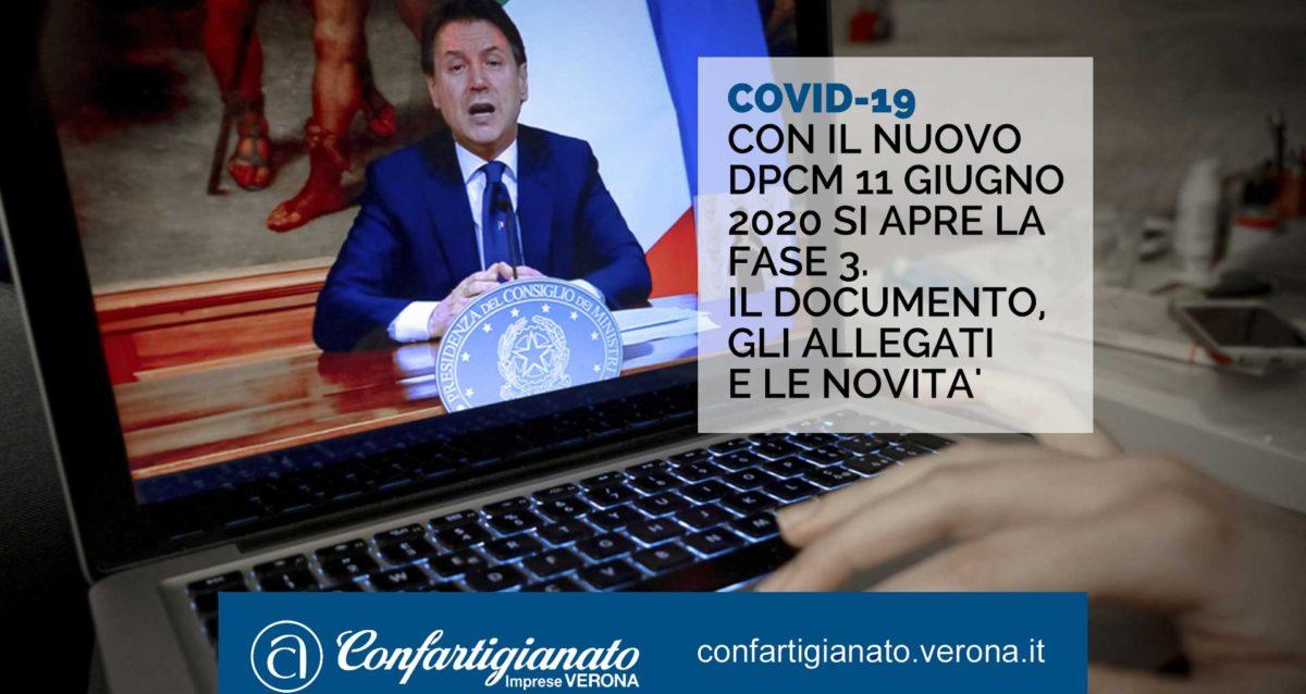 COVID-19 – Con il nuovo DPCM 11 giugno 2020 si apre la Fase 3: il documento, gli allegati e le novita'