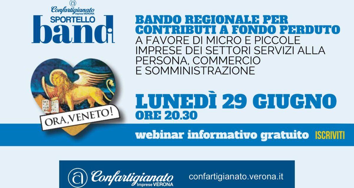 SPORTELLO BANDI – Bando regionale contributi a fondo perduto: il 29 giugno, webinar informativo gratuito. Iscriviti