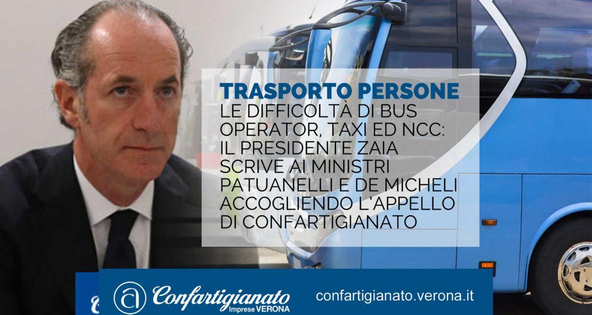 TRASPORTO PERSONE – Le difficoltà di Bus Operator, Taxi ed Ncc: il Presidente Zaia scrive ai Ministri Patuanelli e De Micheli accogliendo l'appello di Confartigianato