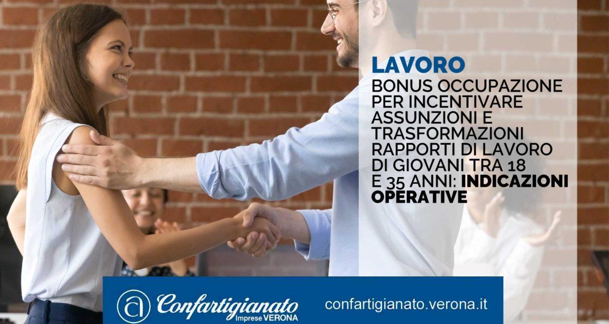 LAVORO – Bonus occupazione per incentivare assunzioni e trasformazioni rapporti di lavoro di giovani tra 18 e 35 anni: le indicazioni operative