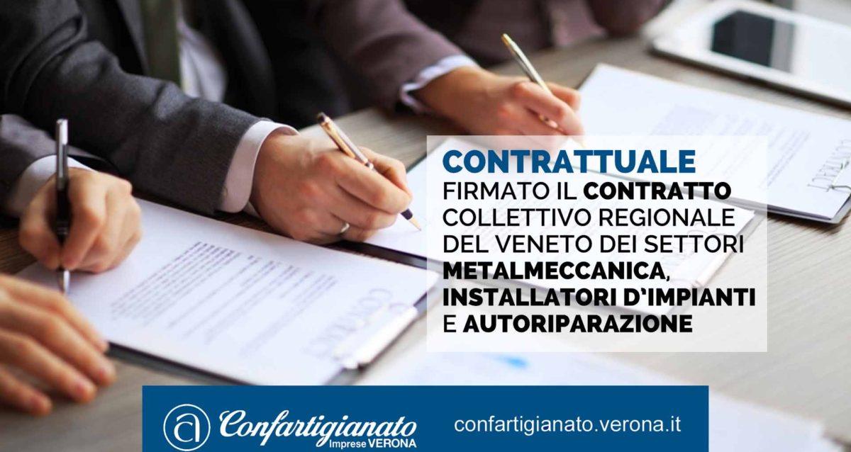 CONTRATTUALE – Firmato il Contratto Collettivo Regionale del Veneto dei settori Metalmeccanica, Installatori d'impianti e Autoriparazione