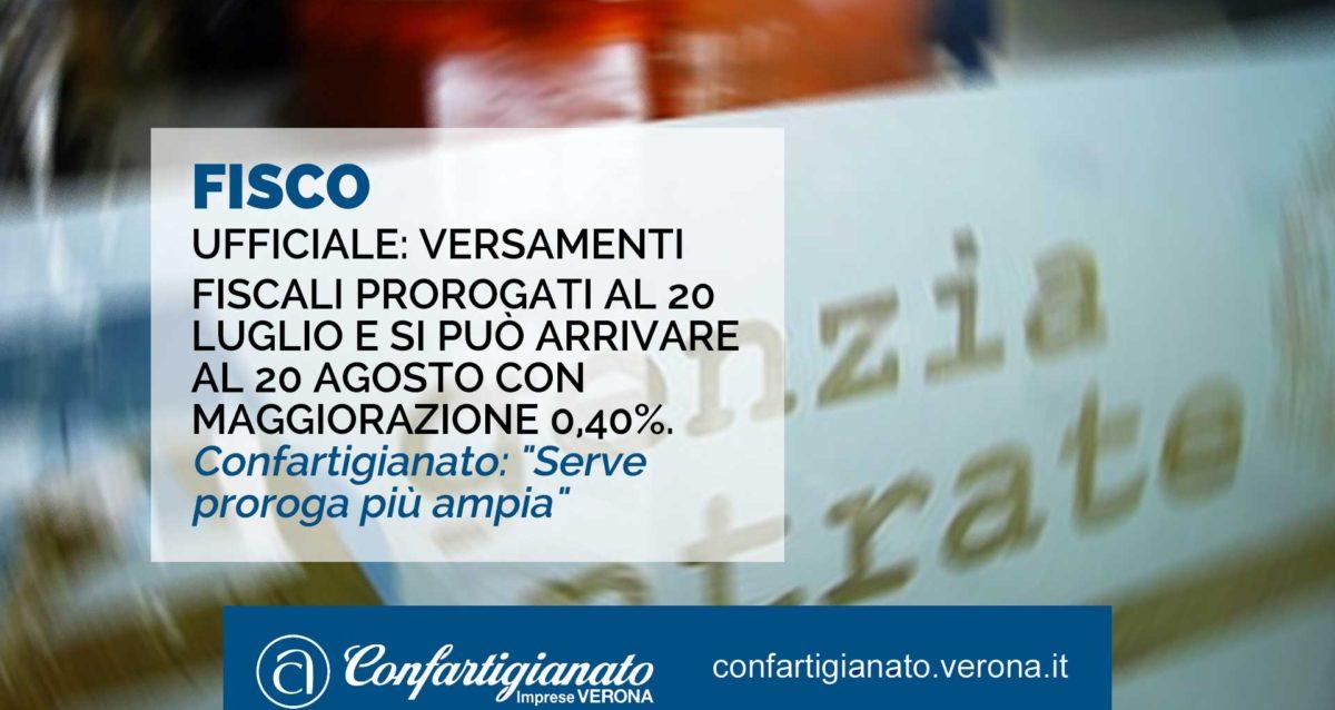 """FISCO – I versamenti fiscali slittano al 20 luglio e si può arrivare al 20 agosto con maggiorazione dello 0,40%. Confartigianato: """"Serve proroga più ampia"""""""