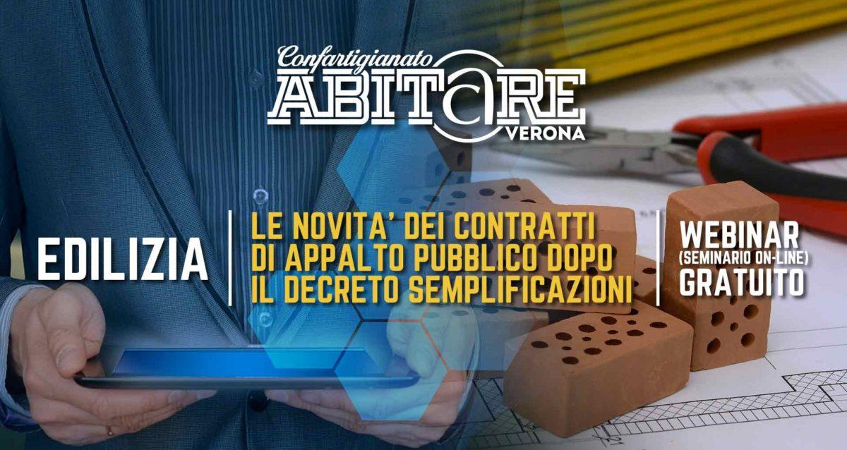 EDILIZIA – Webinar gratuito il 23 luglio: 'Le novita dei contratti di appalto pubblico dopo il Decreto Semplificazioni'. Iscriviti