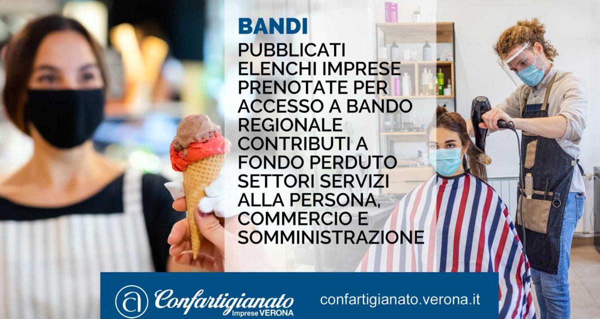 SPORTELLO BANDI – Pubblicati elenchi imprese prenotate per accesso a Bando regionale contributi a fondo perduto settori Servizi alla Persona, Commercio e Somministrazione