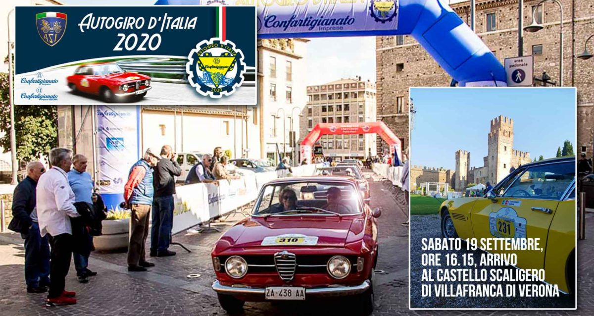 AUTOGIRO D'ITALIA 2020 - Sabato 19 settembre, bandiera a scacchi finale per l'arrivo al Castello Scaligero di Villafranca
