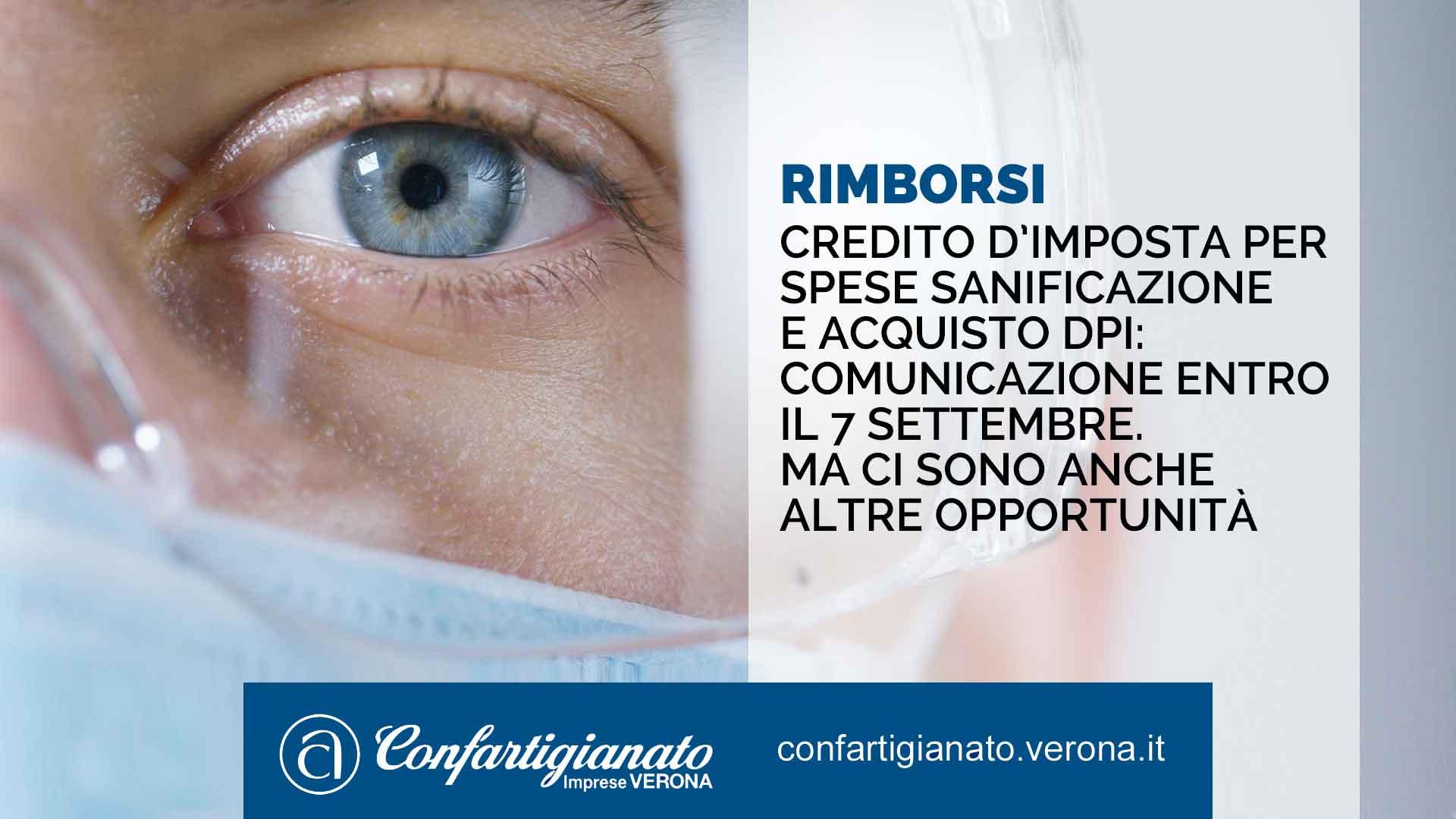 RIMBORSI – Credito d'imposta per spese di sanificazione e acquisto DPI: Comunicazione entro il 7 settembre. Ma ci sono anche altre opportunità