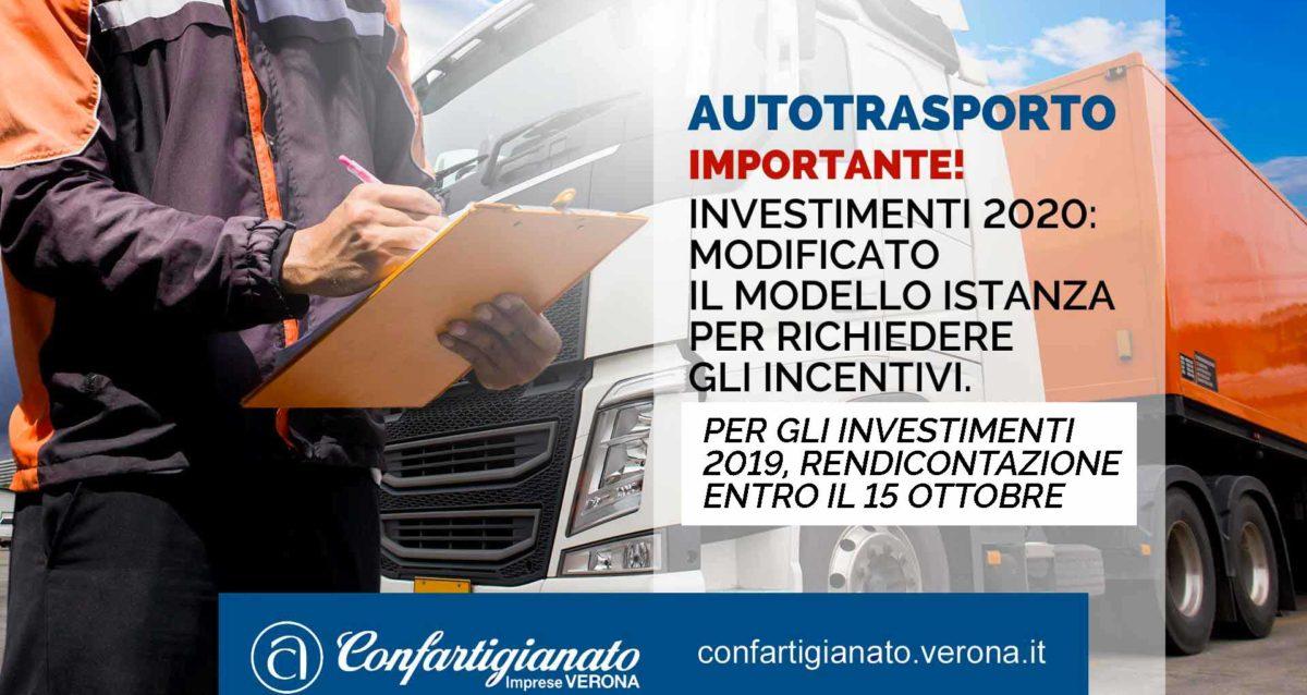 AUTOTRASPORTO – Investimenti 2020: modificato il modello istanza per richiedere gli incentivi. Per gli investimenti 2019 rendicontazione entro il 15 ottobre