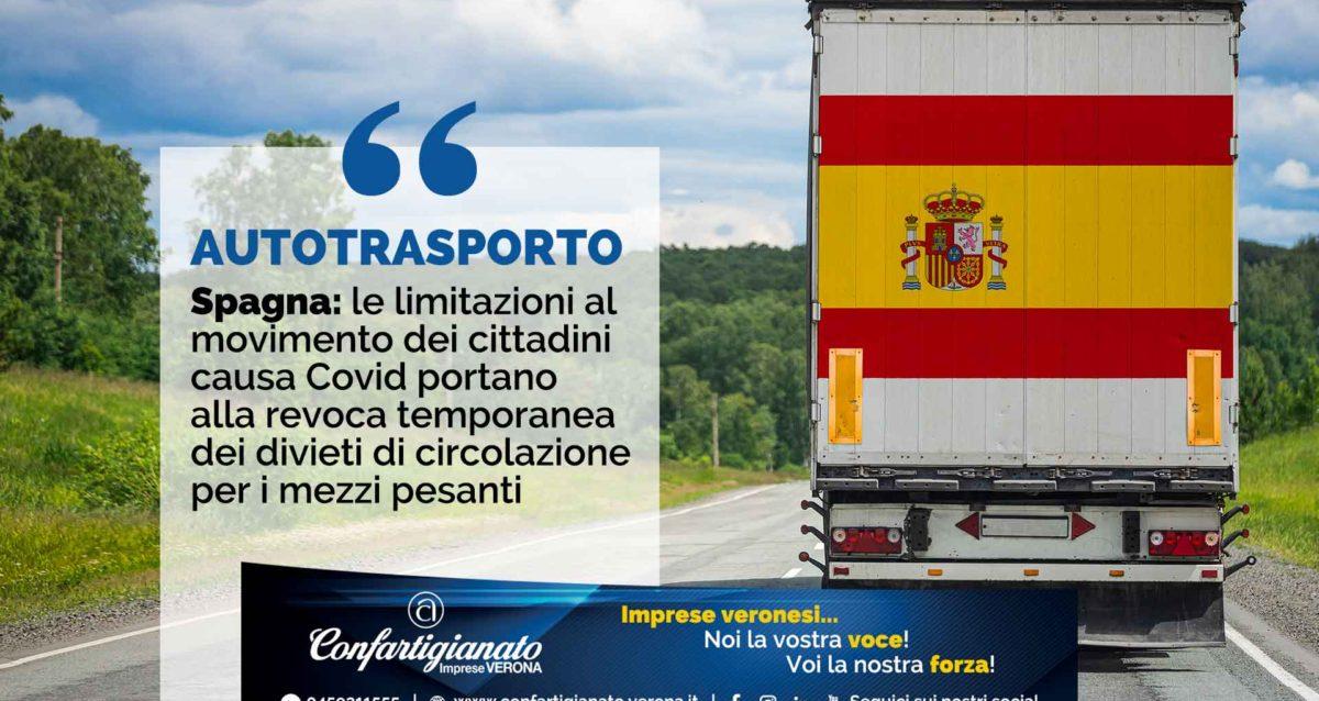 Spagna: le limitazioni al movimento dei cittadini causa Covid portano alla revoca temporanea dei divieti di circolazione per i mezzi pesanti