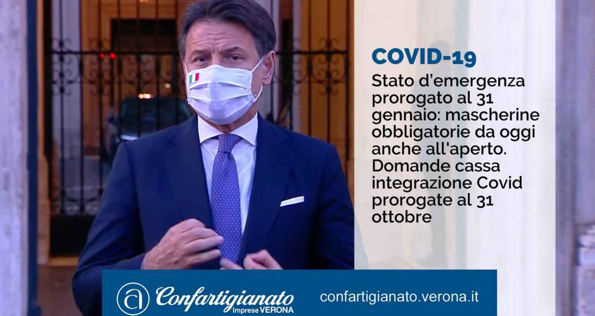 COVID-19 – Stato d'emergenza prorogato al 31 gennaio: mascherine obbligatorie da oggi anche all'aperto. Domande cassa integrazione Covid prorogate al 31 ottobre