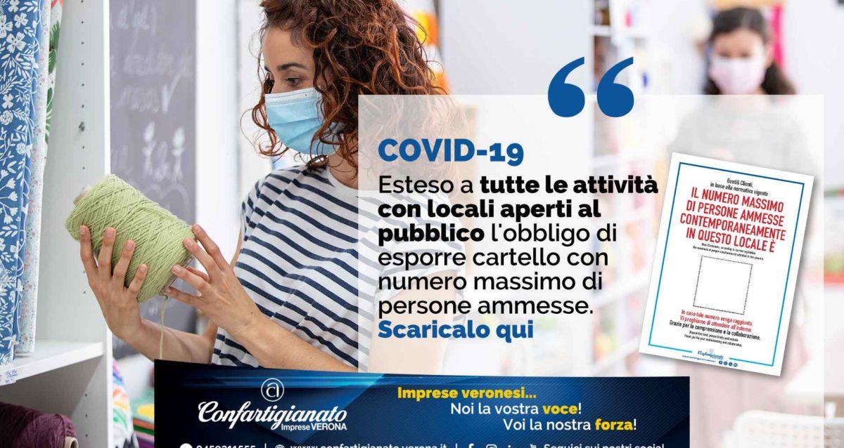 COVID-19 – Esteso a tutte le attività con locali aperti al pubblico l'obbligo di esporre cartello con numero massimo persone ammesse: Scaricalo qui
