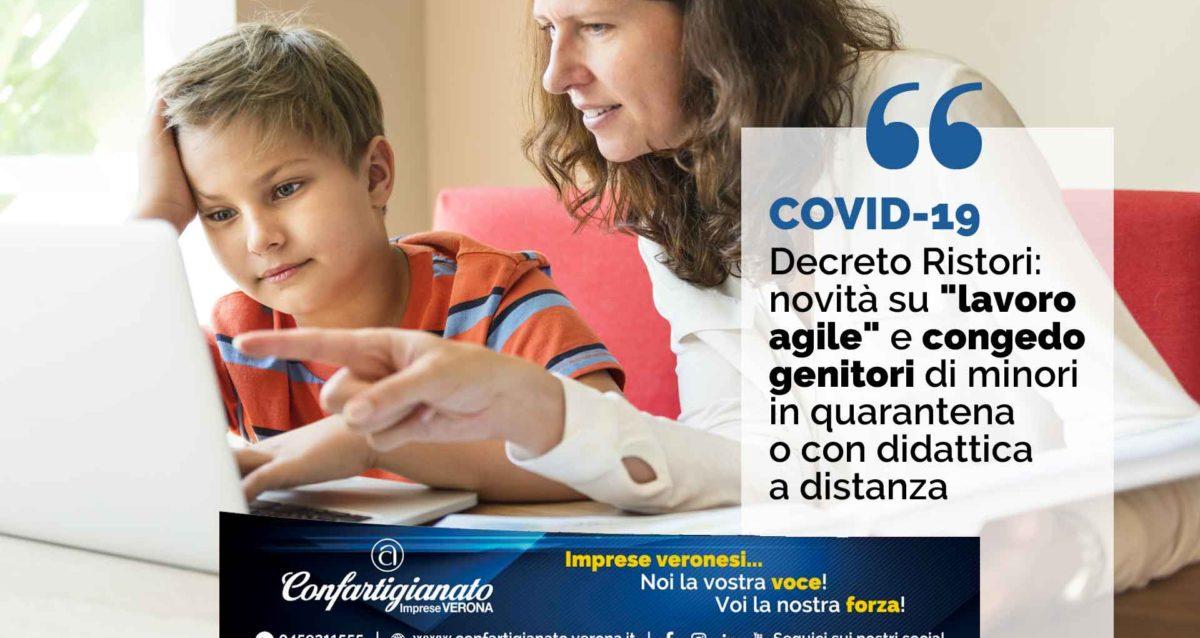 """COVID-19 – Decreto Ristori: novità su """"lavoro Agile"""" e congedo per genitori di minori in quarantena o con didattica a distanza"""