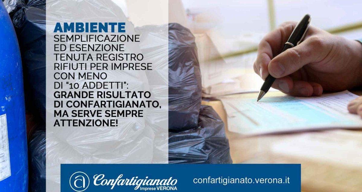 """AMBIENTE – Semplificazione/esenzione tenuta registro rifiuti per imprese con meno di """"10 addetti"""": risultato Confartigianato, ma serve attenzione!"""