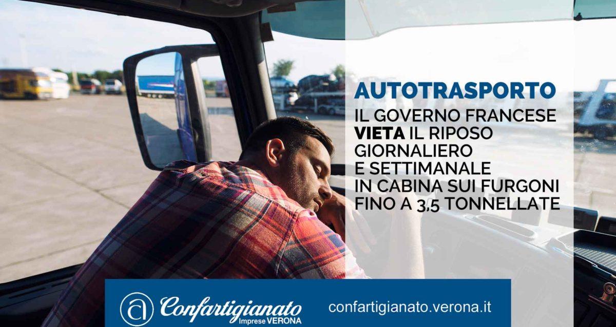 AUTOTRASPORTO – Il governo francese vieta riposo giornaliero e settimanale in cabina sui furgoni fino a 3,5 ton