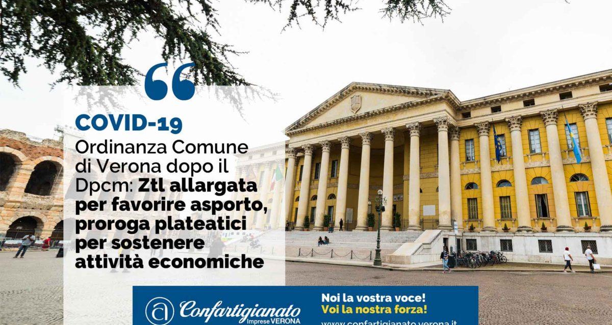 COVID-19 Ordinanza Comune di Verona dopo il Dpcm: Ztl allargata per favorire asporto, proroga plateatici per sostenere attività economiche