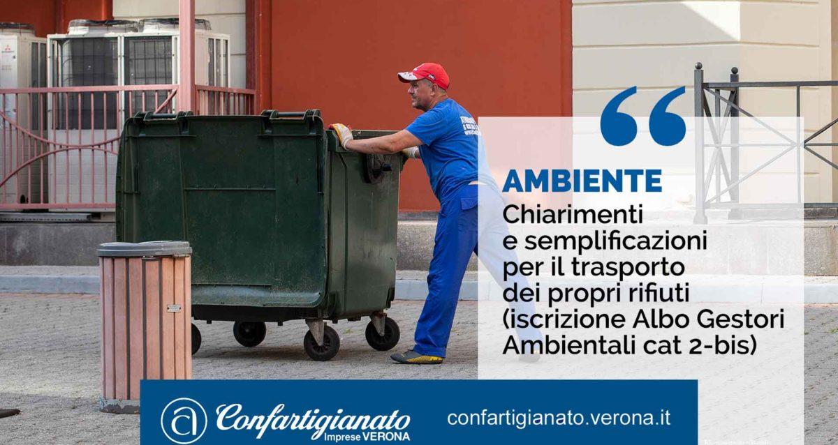 AMBIENTE – Chiarimenti e semplificazioni per il trasporto dei propri rifiuti (iscrizione Albo Gestori Ambientali cat 2-bis)