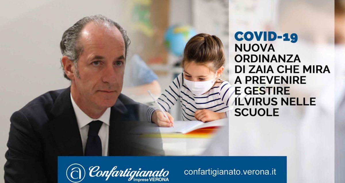 COVID-19 Nuova ordinanza dI Zaia che mira a prevenire e gestire ilvirus nelle scuole