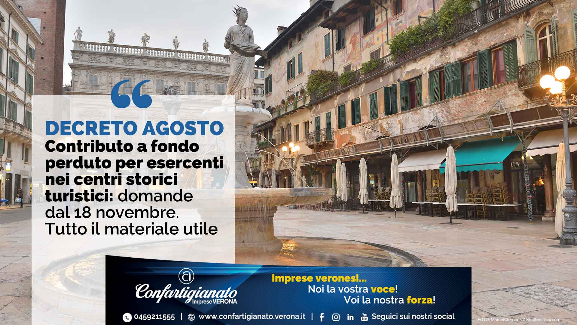 DECRETO AGOSTO – Contributo a fondo perduto per esercenti nei centri storici turistici: domande dal 18 novembre. Tutto il materiale utile