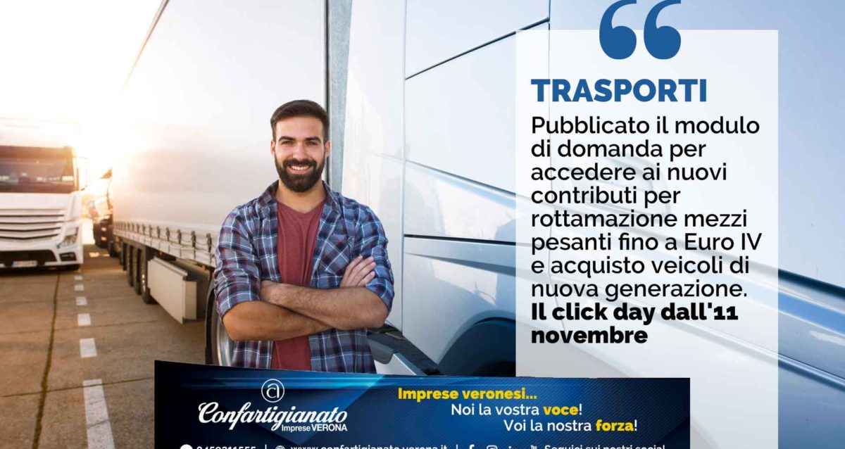 TRASPORTI - Pubblicato il modulo di domanda per accedere ai nuovi contributi per rottamazione mezzi pesanti fino a Euro IV e acquisto veicoli di nuova generazione. Il click day dall'11 novembre