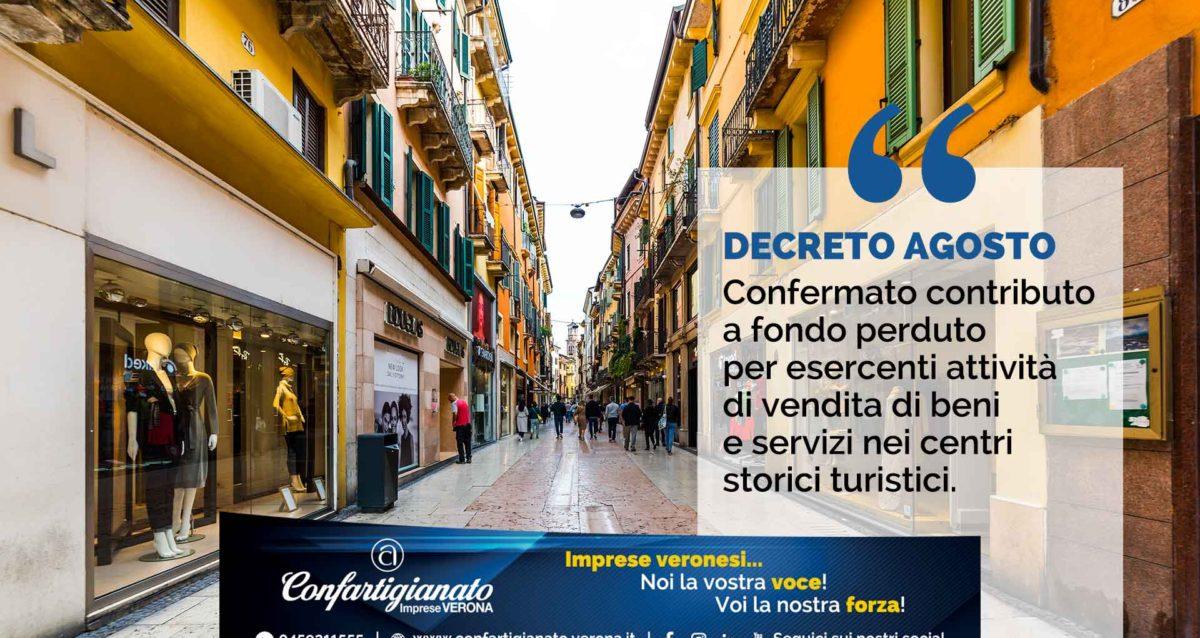 DECRETO AGOSTO – Confermato il contributo a fondo perduto per esercenti attività di vendita di beni e servizi nei centri storici turistici