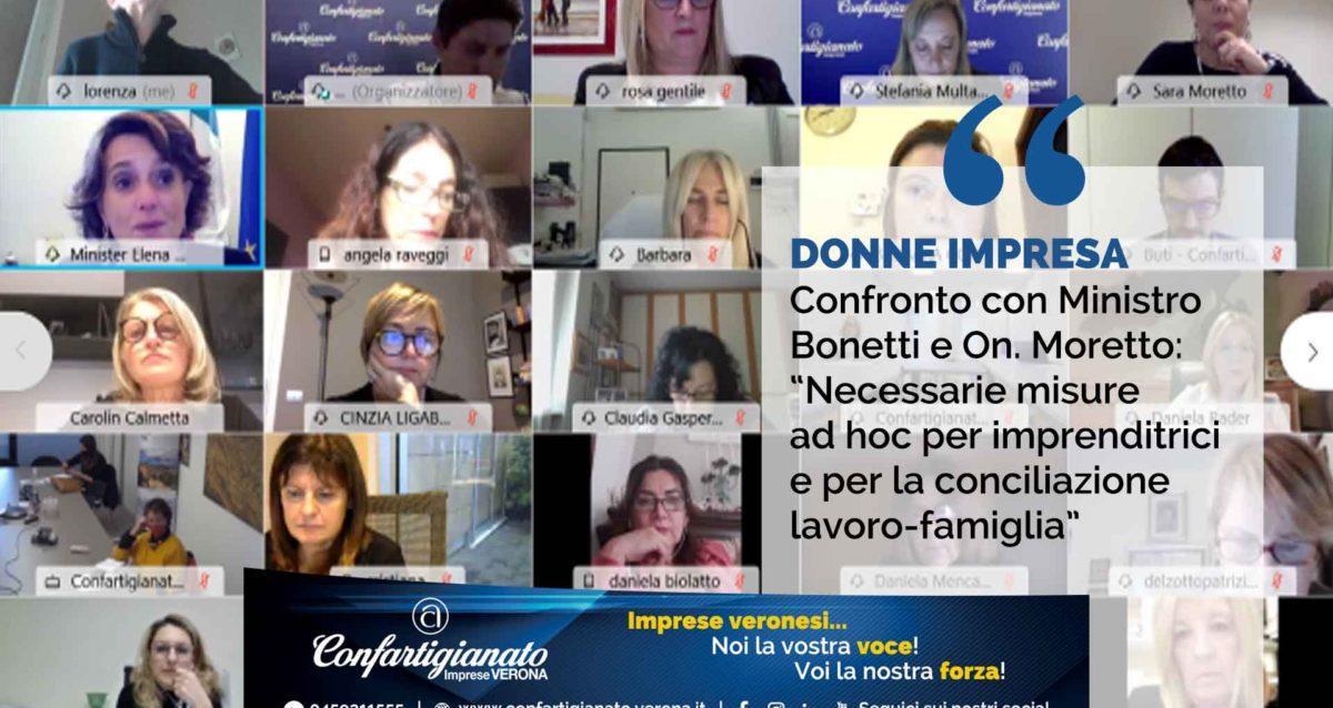 Confronto con Ministra Bonetti e On. Moretto: 'Misure ad hoc per imprenditrici e conciliazione lavoro-famiglia'