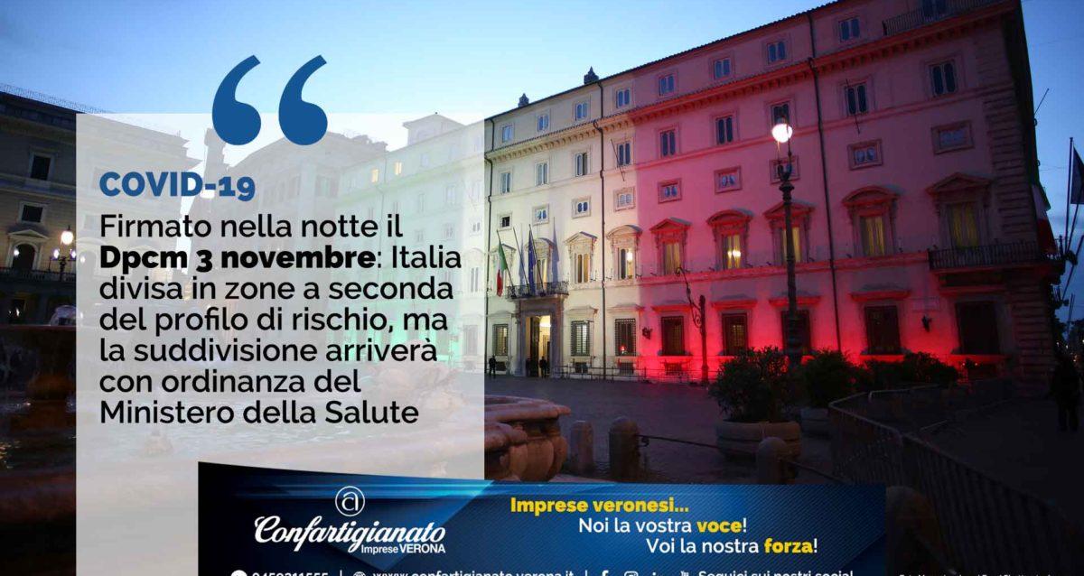 COVID-19 – Firmato nella notte il Dpcm 3 novembre: Italia divisa in zone a seconda del profilo di rischio, ma la suddivisione arriverà dal Ministero della Salute