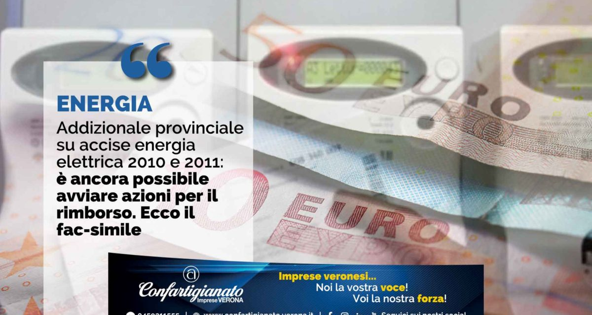 ENERGIA – Addizionale provinciale su accise energia elettrica 2010 e 2011: è ancora possibile avviare azioni per il rimborso. Ecco il fac-simile