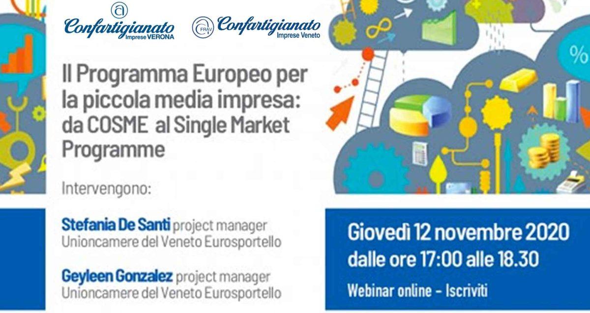 WEBINAR - Il Programma Europeo per la piccola media impresa: 12 novembre 2020, iscriviti per partecipare