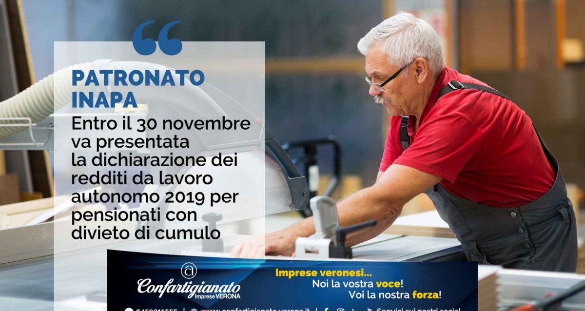 PATRONATO INAPA – Entro il 30 novembre va presentata la dichiarazione redditi da lavoro autonomo 2019 per pensionati con divieto di cumulo