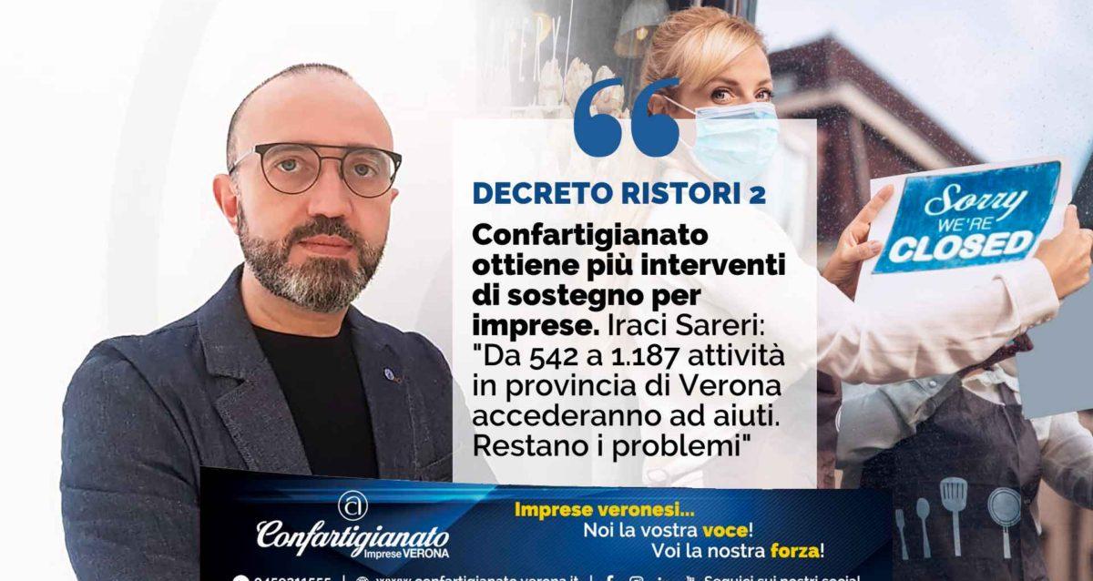 """DECRETO RISTORI 2 – Confartigianato ottiene più interventi di sostegno per imprese. Iraci Sareri: """"Da 542 a 1.187 attività in più in provincia di Verona. Ma ancora molti problemi"""""""