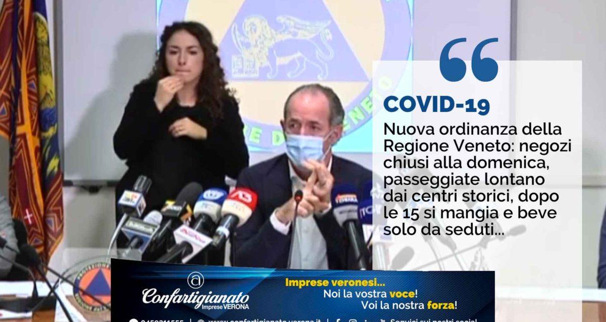 COVID-19 – Nuova ordinanza Regione Veneto: negozi chiusi alla domenica, passeggiate lontano dai centri storici, dopo le 15 si mangia e beve solo da seduti