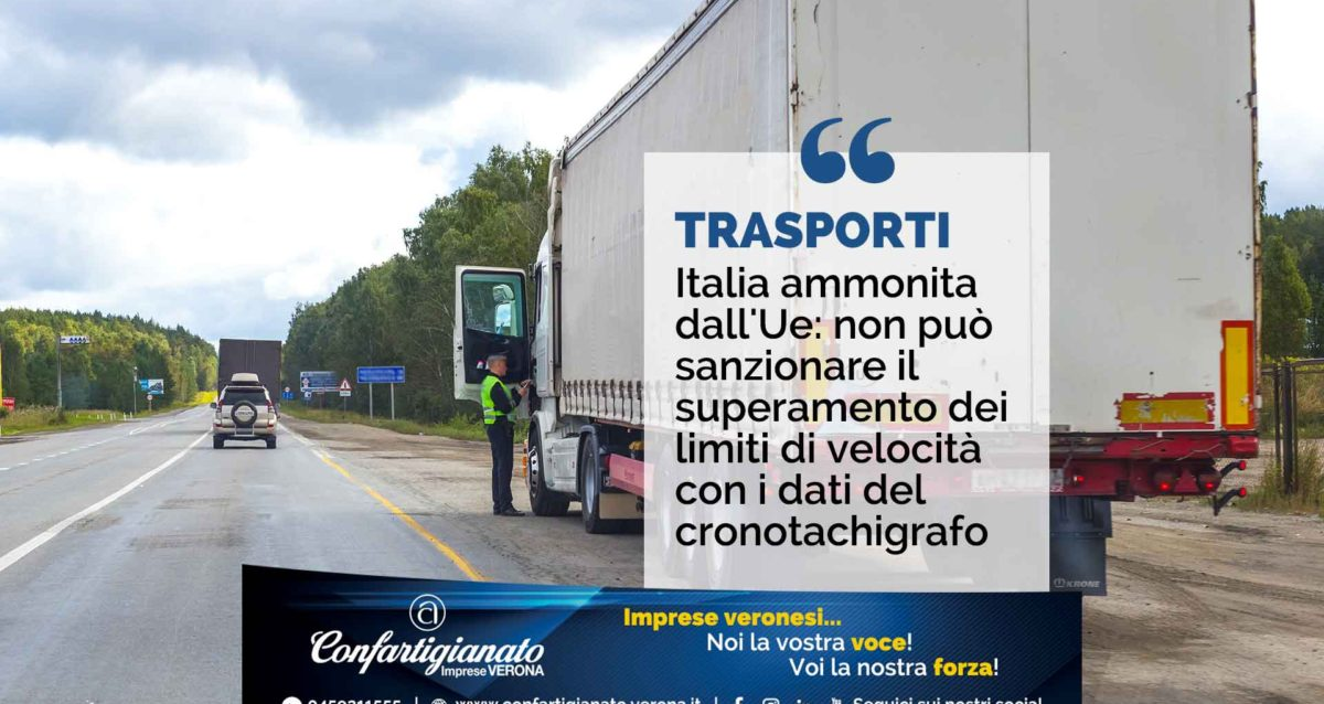 TRASPORTI – Italia ammonita dall'Ue: non può sanzionare il superamento dei limiti di velocità con i dati del cronotachigrafo