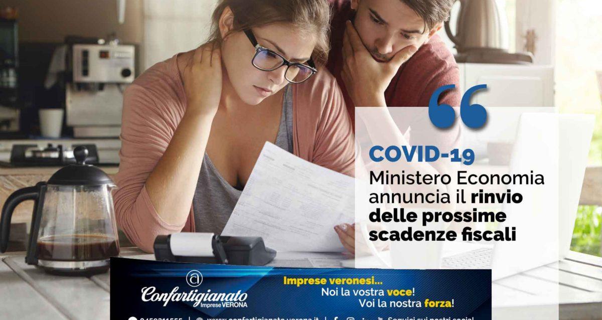 COVID 19 – Il Ministero dell'Economia annuncia il rinvio delle prossime scadenze fiscali