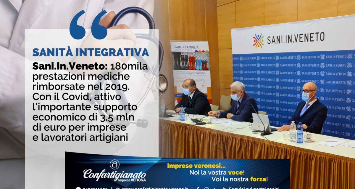 SANITA' INTEGRATIVA – Sani.In.Veneto: 180mila prestazioni mediche rimborsate nel 2019. Con il Covid, attivo l'importante supporto economico di 3,5 mln di euro per imprese e lavoratori artigiani