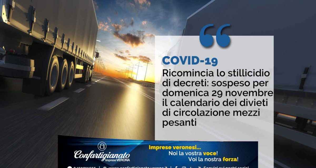 TRASPORTI – Ricomincia lo stillicidio di decreti: sospeso per domenica 29 novembre il calendario dei divieti di circolazione mezzi pesanti