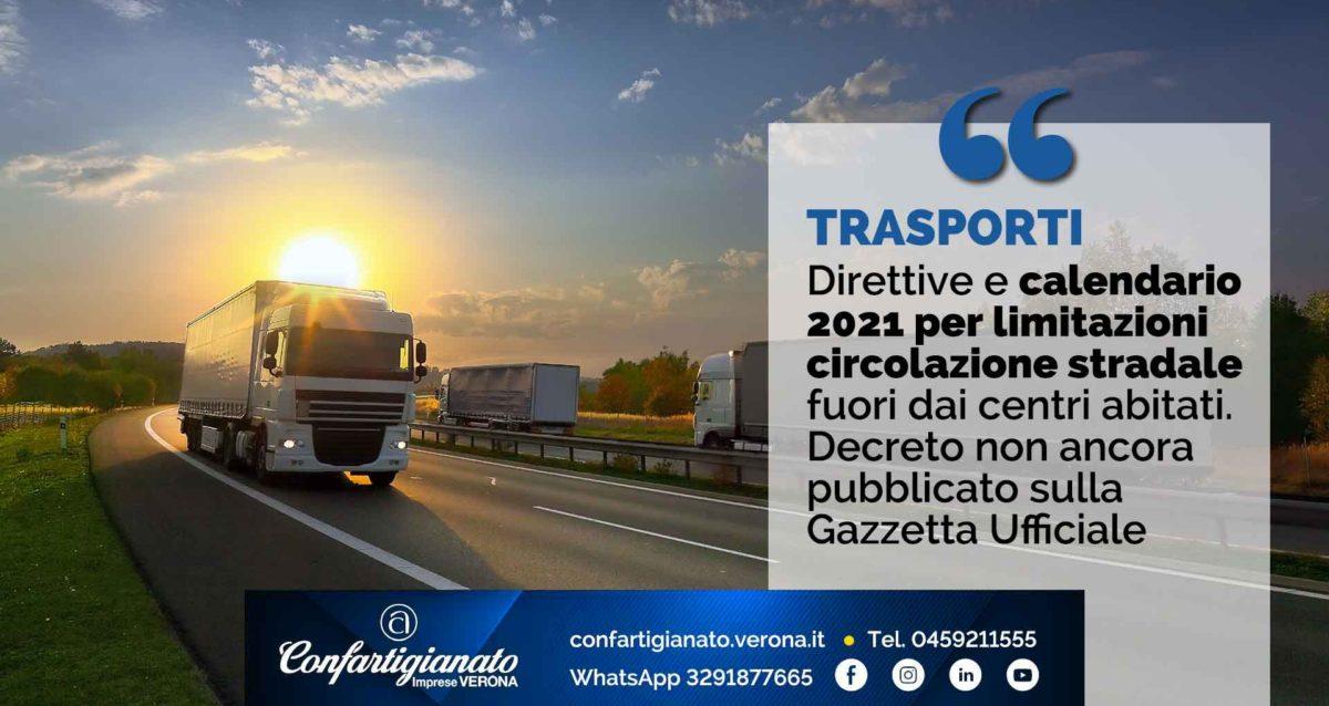 TRASPORTI – Direttive e calendario 2021 per limitazioni circolazione stradale fuori dai centri abitati. In attesa di pubblicazione sulla Gazzetta Ufficiale