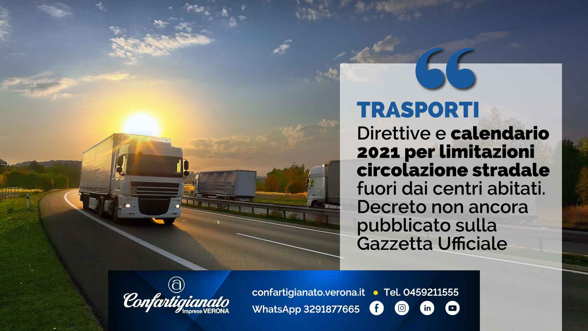 Calendario Divieti Di Circolazione 2021 TRASPORTI – Direttive e calendario 2021 per limitazioni