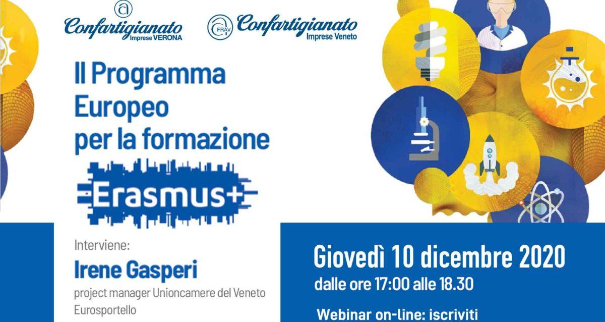 WEBINAR – Il Programma Europeo per la formazione Erasmus+: 10 dicembre 2020, iscriviti per partecipare