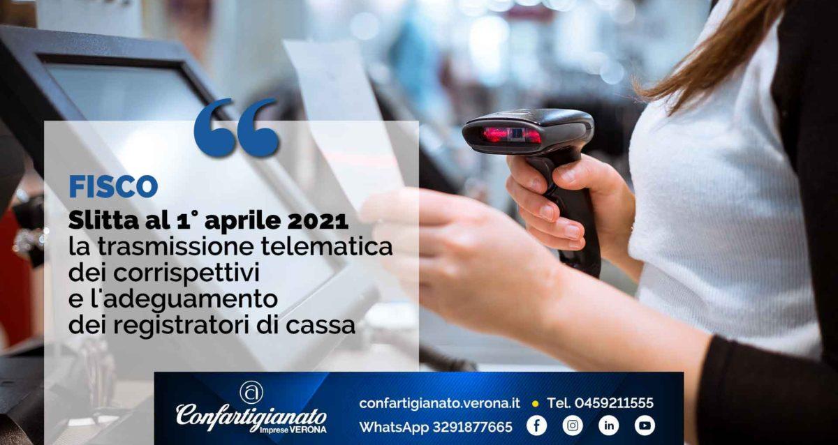 FISCO – Slitta al 1° aprile 2021 la trasmissione telematica dei corrispettivi e l'adeguamento dei registratori di cassa
