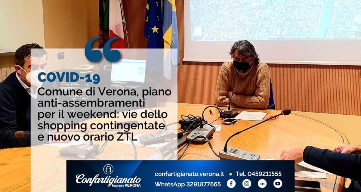 COVI-19 – Comune di Verona, piano anti assembramenti per il weekend: vie dello shopping contingentate e nuovo orario ZTL