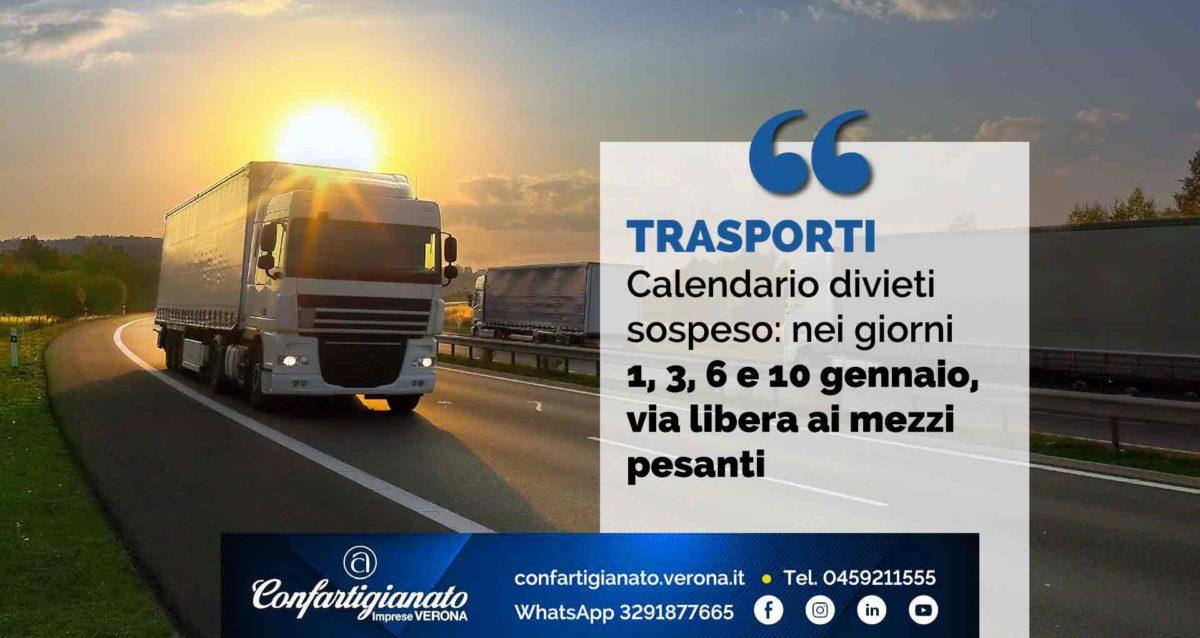 TRASPORTI – Calendario divieti sospeso: nei giorni 1, 3, 6 e 10 gennaio, via libera ai mezzi pesanti