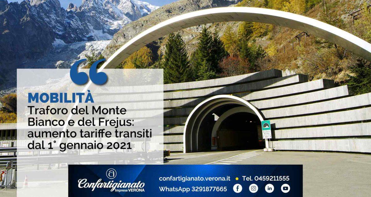 MOBILITA' – Traforo del Monte bianco e del Frejus: aumento tariffe transiti dal 1° gennaio 2021