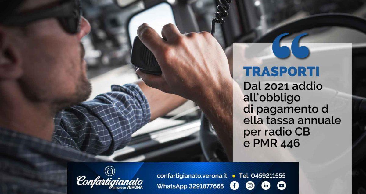 TRASPORTI – Dal 2021 addio all'obbligo di pagamento della tassa annuale per radio CB e PMR 446