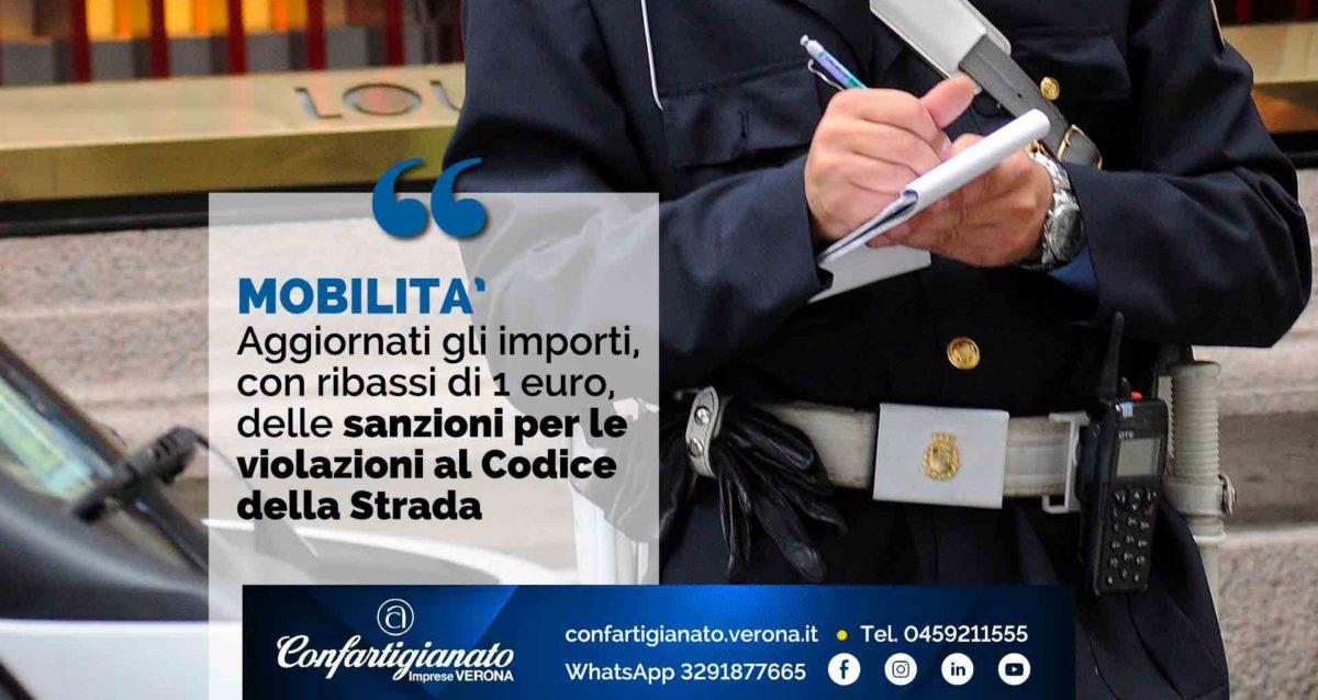 MOBILITA' – Aggiornati gli importi, con ribassi di 1 euro, delle sanzioni per le violazioni al Codice della Strada